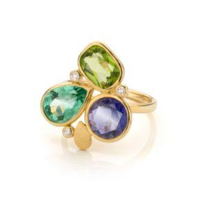 Audrey Huet Joaillerie : Bague N°3 or jaune 18 carats pierres gemmes naturelles symbole d'audace et d'élégance MADE in Belgium pour des femmes de caractère