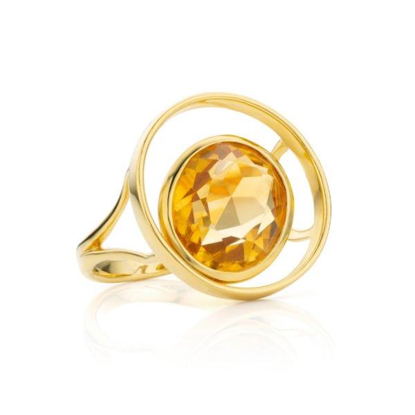 Audrey Huet Joaillerie : Bague ONE or jaune 18 carats citrine pierre naturelle symbole d'audace et d'élégance MADE in Belgium pour des femmes de caractère