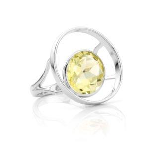 Audrey Huet Joaillerie : Bague ONE or blanc 18 carats quartz lemon pierre naturelle symbole d'audace et d'élégance MADE in Belgium pour des femmes de caractère