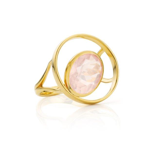 Audrey Huet Joaillerie : Bague ONE or jaune 18 carats quartz rose pierre naturelle symbole d'audace et d'élégance MADE in Belgium pour des femmes de caractère