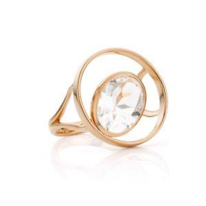 Audrey Huet Joaillerie : Bague ONE topaze incolore or rose 18 carats symbole d'audace et d'élégance MADE in Belgium or 18 carats