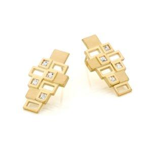 Audrey Huet Joaillerie : Boucles d'oreilles INCA MADE in Belgium or 18 carats saphirs incolores