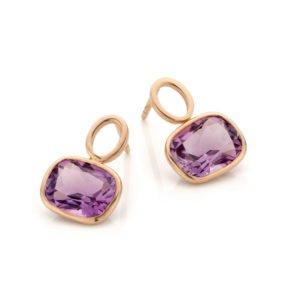 Audrey Huet Joaillerie boucles d'oreilles bijoux colorés améthyste 18 carats design épuré pour des femmes élégantes de caractère MADE in Belgium