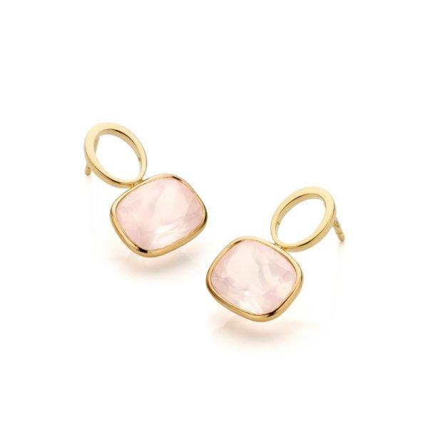 Audrey Huet Joaillerie boucles d'oreilles bijoux colorés quartz rose 18 carats design épuré pour des femmes élégantes de caractère MADE in Belgium