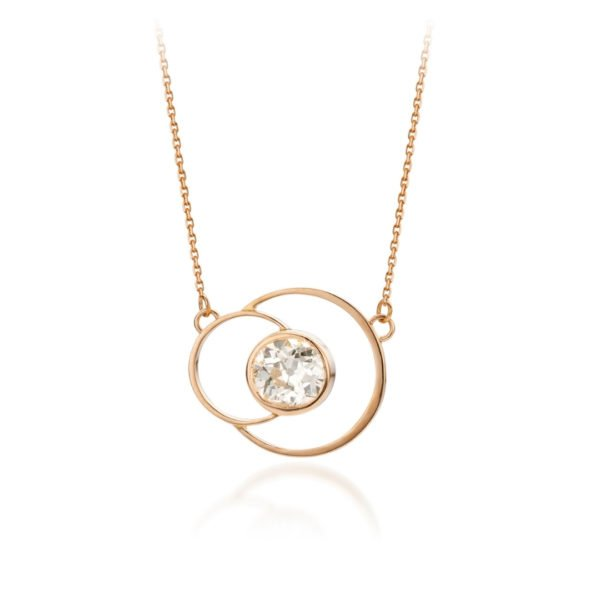 Audrey Huet Joaillerie collier ANNE bijoux colorés topaze or rose 18 carats design épuré pour des femmes élégantes de caractère MADE in Belgium