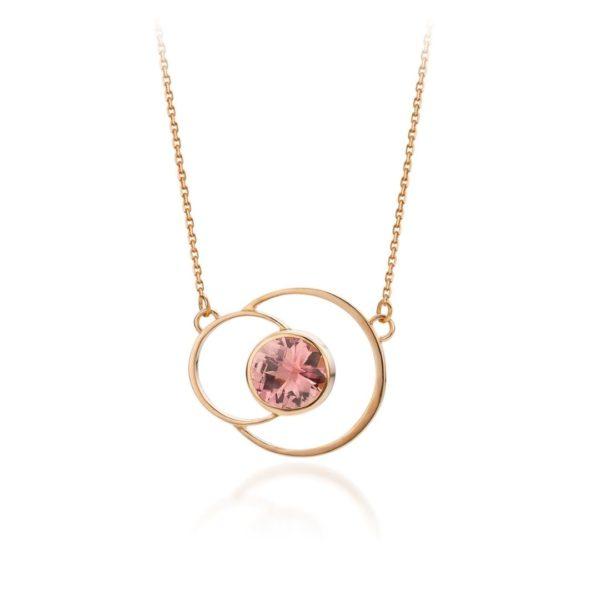 Audrey Huet Joaillerie collier ANNE bijoux colorés tourmaline or rose 18 carats design épuré pour des femmes élégantes de caractère MADE in Belgium