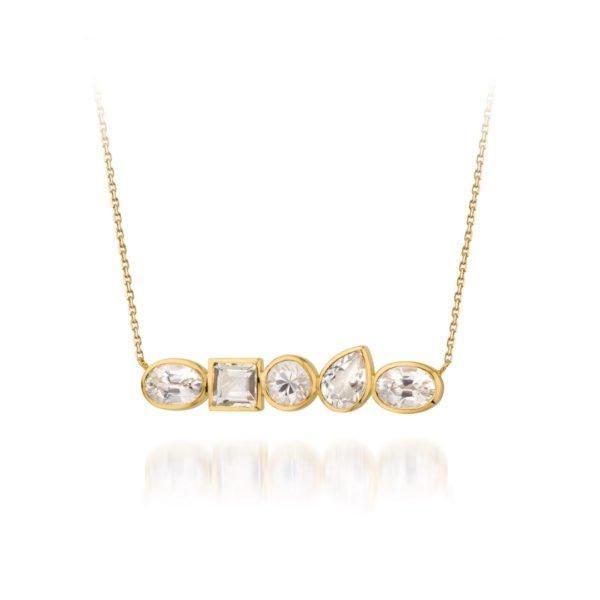 Audrey Huet Joaillerie collier bijoux colorés pierres naturelles topaze et zircons or 18 carats design épuré pour des femmes élégantes de caractère
