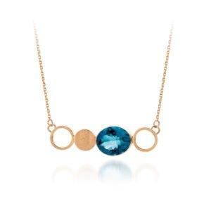 Audrey Huet Joaillerie collier MIXX bijoux colorés topaze blue london or 18 carats design épuré pour des femmes élégantes de caractère