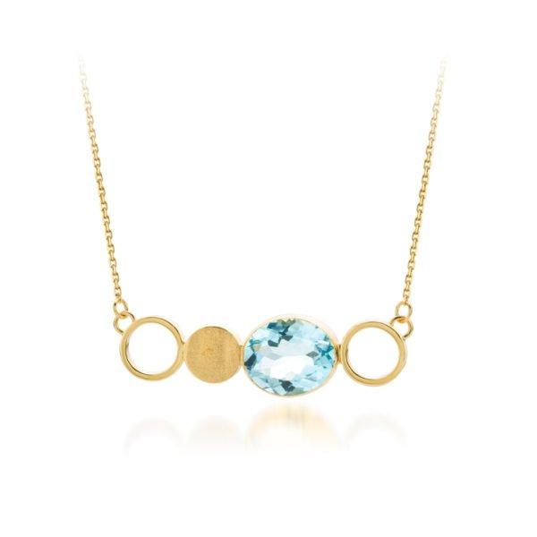 Audrey Huet Joaillerie collier bijoux colorés topaze blue swiss or 18 carats design épuré pour des femmes élégantes de caractère