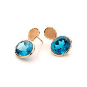 Audrey Huet Joaillerie : Boucles d'oreilles symbole d'élégance bijoux colorés MADE in Belgium topaze blue london or rose