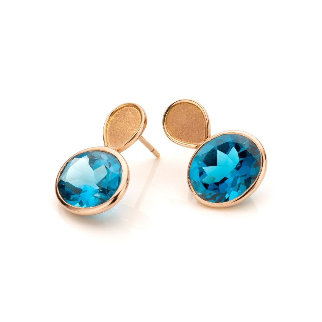 Audrey Huet Joaillerie: Earrings symbol of elegance colored jewelry MADE in Belgium topaz blue london rose gold
