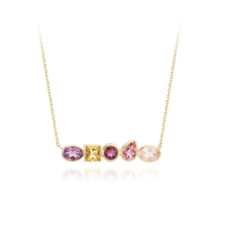 Audrey Huet Joaillerie ANNE necklace colorful jewelry 18k pink gold topaz design for elegant women of character MADE in Belgium